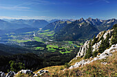 View from Sauling to Lech valley and Tannheimer mountain range, Ammergauer Alps, Oberallgaeu, Bavaria, Germany