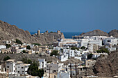 Overhead of Old Muscat, Muscat, Masqat, Oman, Arabian Peninsula