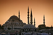 Suleymaniye Mosque at sunset, Golden Horn, Istanbul, Turkey, Moschee, Europe