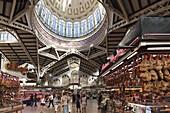 Art nouveau ceiling at central market hall Mercado Central, Valencia, Spain, Europe