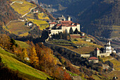 View of Saeben monastery in autumn, Chiusa, Valle Isarco, South Tyrol, Italy, Europe