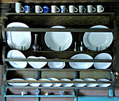 Ceramic dishes in a shelf, South Tyrol, Italy, Europe
