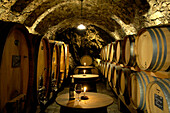 Wine barrels in the winery Juval castle, Unterortl, Val Venosta, South Tyrol, Italy, Europe