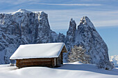 Santner peak, Plattkofel Alm, UNESCO world natural heritage, Seiser Alm, Valle Isarco, South Tyrol, Trentino-Alto Adige, Italy