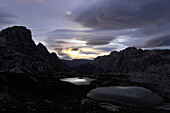 Mountain lakes, Sexten Dolomites at sunrise, Dolomites, South Tyrol, Trentino-Alto Adige, Italy