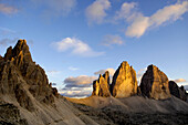 Paternkofel and Three Peaks in morning light, Sexten Dolomites, Dolomites, South Tyrol, Trentino-Alto Adige, Italy