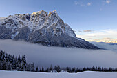 Morning fog, Punta Santner, Santner,  Sciliar, UNESCO world natural heritage, Valle Isarco, Dolomites, South Tyrol, Trentino-Alto Adige, Italy