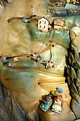 Small wooden figures, Burgraviato, Museum of Tourism, Trauttmannsdorff castle, Merano, Vinschgau, South Tyrol, Trentino-Alto Adige, Italy