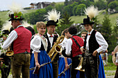 People in traditional costumes with musical instruments, Siuse, Valle Isarco, Alto Adige, South Tyrol, Italy, Europe