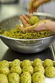 Preparation of dumplings with bear's garlic, Pretzhof, Tulfer, Alto Adige, South Tyrol, Italy, Europe