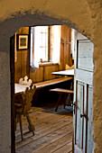 View into farmhouse parlour at a museum, Rohrer farm, Val Sarentino, Alto Adige, South Tyrol, Italy, Europe