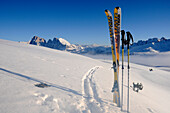 Skis in snowy mountain landscape, Puflatsch, Alto Adige, South Tyrol, Italy, Europe