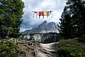 Flags, Peitlerkofel in the background, Dolomites, Alto Adige, South Tyrol, Italy