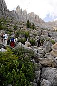 Hikers at the  Karer Pass, Nova Levante, Alto Adige, South Tyrol, Italy