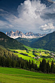 St Magdalena in front of the Geisslerspitzen, Villnoess, Valle Isarco, Alto Adige, South Tyrol, Italy