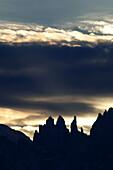 Vajolet Towers in the back light, Rosengarten, Dolomites, Alto Adige, South Tyrol, Italy