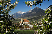 View of Schenna in spring, Alto Adige, South Tyrol, Italy