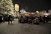 People at christmas market in the evening, Bolzano, South Tyrol, Alto Adige, Italy, Europe