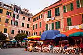 Restaurants In Front Of The Port In Vernazza, Vernazza, Cinque Terra. Liguria, Italy