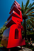 Large Palma sign beside avenue of palm trees, Palma, Majorca, Spain