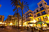 People In Cafes And Restaurants At Dusk, Palma, Majorca, Spain