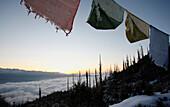 Prayer flags at sunrise over Himalayas, Paro Valley, Bhutan