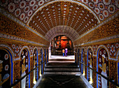 Ornate temple interior, Temple of the Sacred Tooth Relic, Kandy, Central Province, Sri Lanka