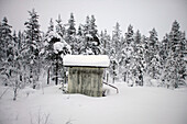Snow covered cabin by forest, Abisko, Sweden