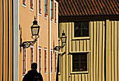Wooden houses at the small town of Vadstena, Ostergotland, Sweden.