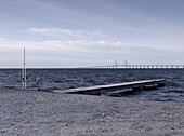 Choppy sea near Oresund Bridge, Malmo, Sweden