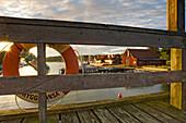 Life belt on jetty in Uto Island, Haninge Municipality, Sweden