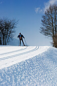 Cross country skiing in Obergesteln, Goms Valley, Switzerland.