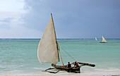 Men on dhow on the beach, Zanzibar, Tanzania