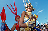 women in shiny costumes, Port O'Spain, Trinidad