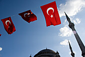 Blue Mosque and Turkish flags, Istanbul, Turkey