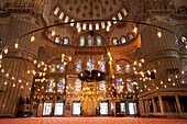 Interior of the Sultanahmet or Blue Mosque, Istanbul, Turkey.