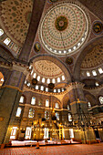 Interior of the New Mosque, Istanbul, Turkey.