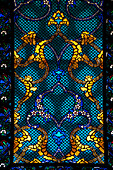 Detail of stanied glass window in room in the Harem of the Topkapi Palace, Istanbul, Turkey.