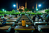 People chatting on becnhes in front of the Sultanahmet or Blue mosque at night (with seagulls flying above), Istanbul, Turkey.
