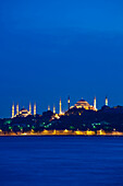 Sultanahmet or Blue mosque and Hagia Sofia at dusk, Istanbul, Turkey.