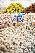 Turkish Delight for sale in the Egyptian Bazaar, Istanbul, Turkey.