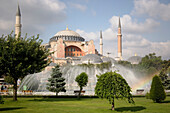 St Sophia Mosque and fountain in park, Istanbul, Turkey