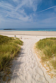 Looking down track through grassy dunes to the beach, Sennen Cove, Cornwall, England