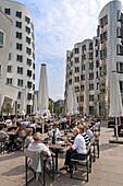 Restaurant at Frank Gehry's Neuer Zollhof, Medienhafen, Düsseldorf, Germany, Europe