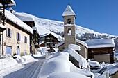 France, Alps, Hautes Alpes, Queyras, Saint-Véran in winter
