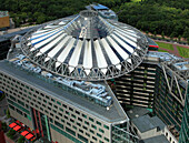 Germany, Berlin, Potsdamer Platz, Sony Center, aerial view