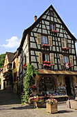 TRADITIONAL HOUSES IN KAYSERSBERG VILLAGE, HAUT RHIN, ALSACE, FRANCE