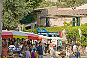 France, Var, Ramatuelle village. General view on a market day in summer