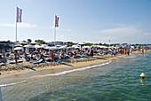 France, Var, Riviera, Ramatuelle, Pampelonne beaches. Key West Beach in front