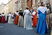France, Provence Alpes Cote D'Azur, Bouches du Rhône (13), Arles, Arlesienne, Costume festivity, Replubique square